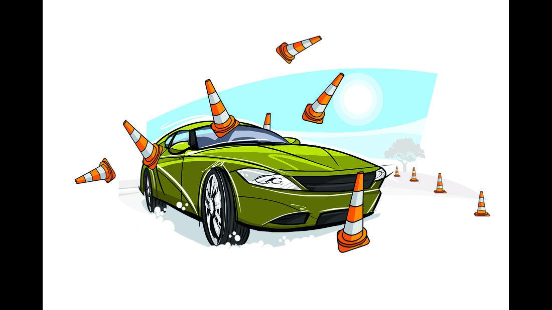 Zeichnung Auto im Schnee