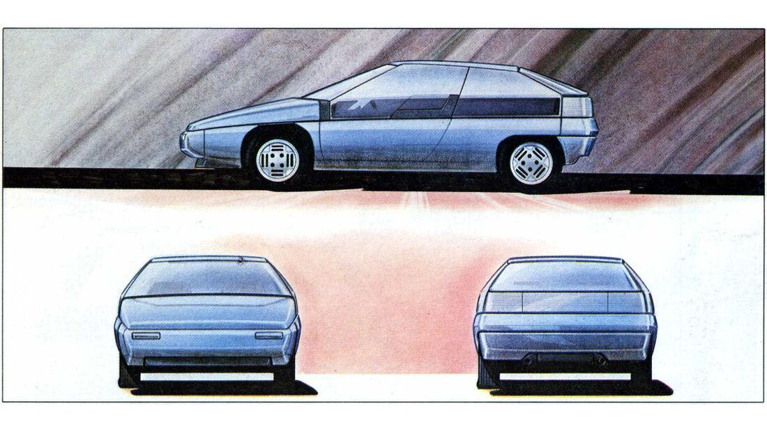 Zeichnung Mazda MX-81 Aria von Giorgio Giugiaro