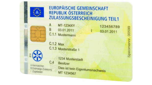 Zulassungsbescheinigung Teil 1 Scheckkarte Österreich