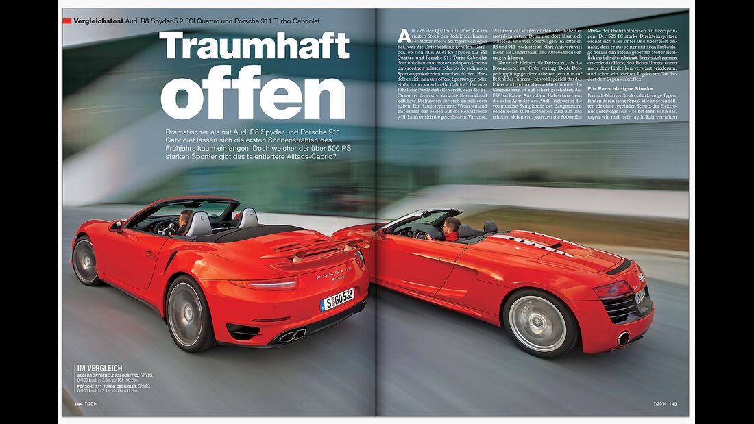 ams 07/2014 VT Audi R8 Cab. vs Porsche 911 Cab.