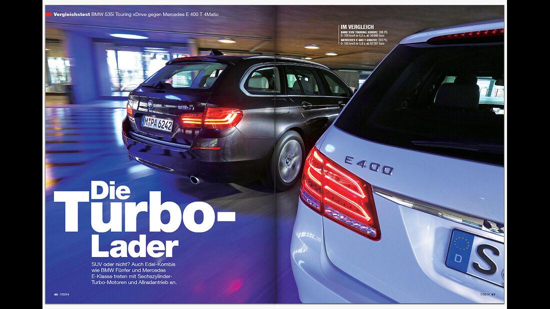 ams 07/2014 VT BMW 535i X-Drive vs MB E 400 T 4-Matic