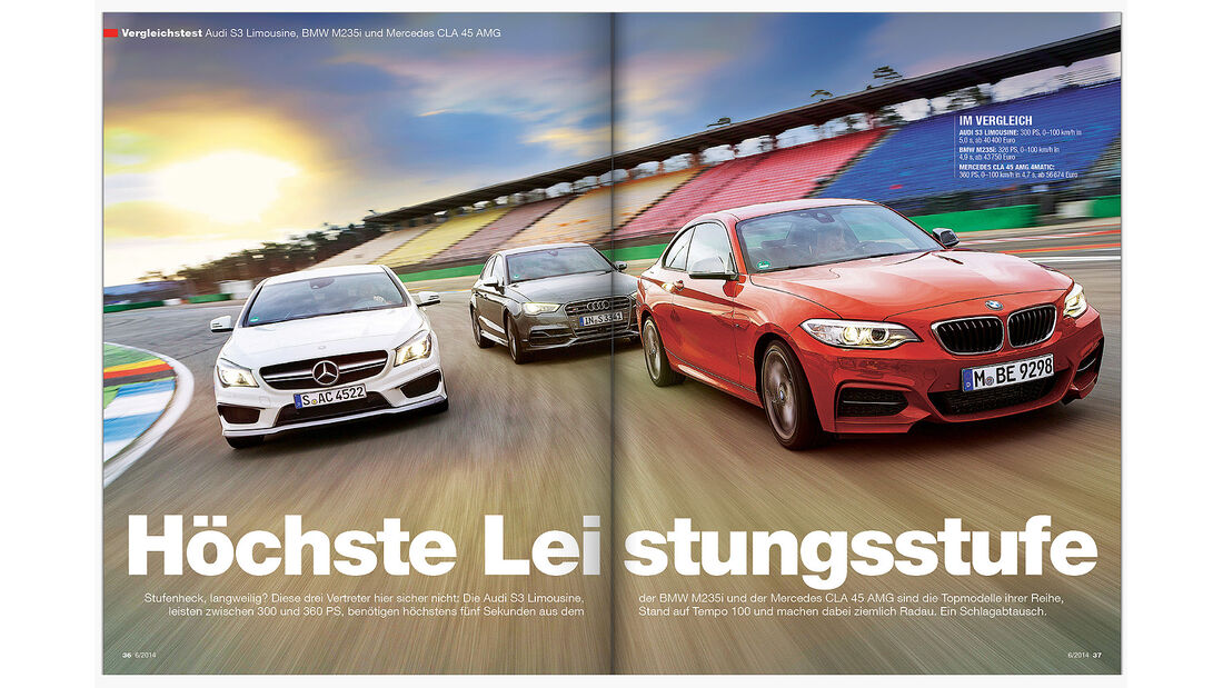 ams Heft 6 VT BMW 2er, Audi S3, CLA 45 AMG