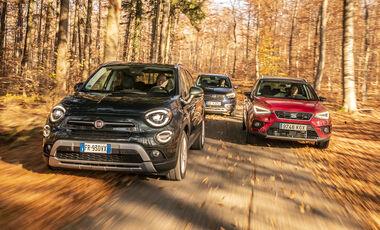 ams0319, Vergleichstest, Fiat 500X 1.3 GSE, Opel Crossland X 1.2 DI Turbo, Seat Arona 1.5 TSI, Exterieur