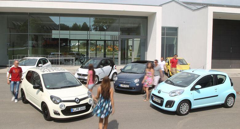 ams15/2012, Kleinwagen, 100 g/km CO2, Citroen C1, Fiat 500C, Opel Corsa, Peugeot 208, Renault Twingo, Smart Fortwo