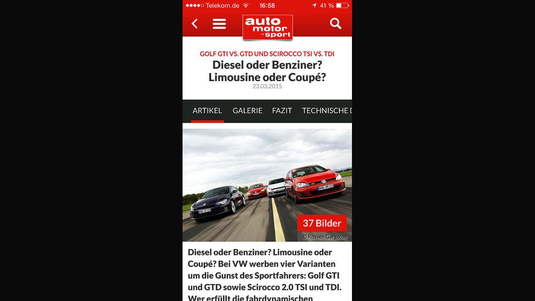 auto motor und sport App iPhone iOS 04/2015