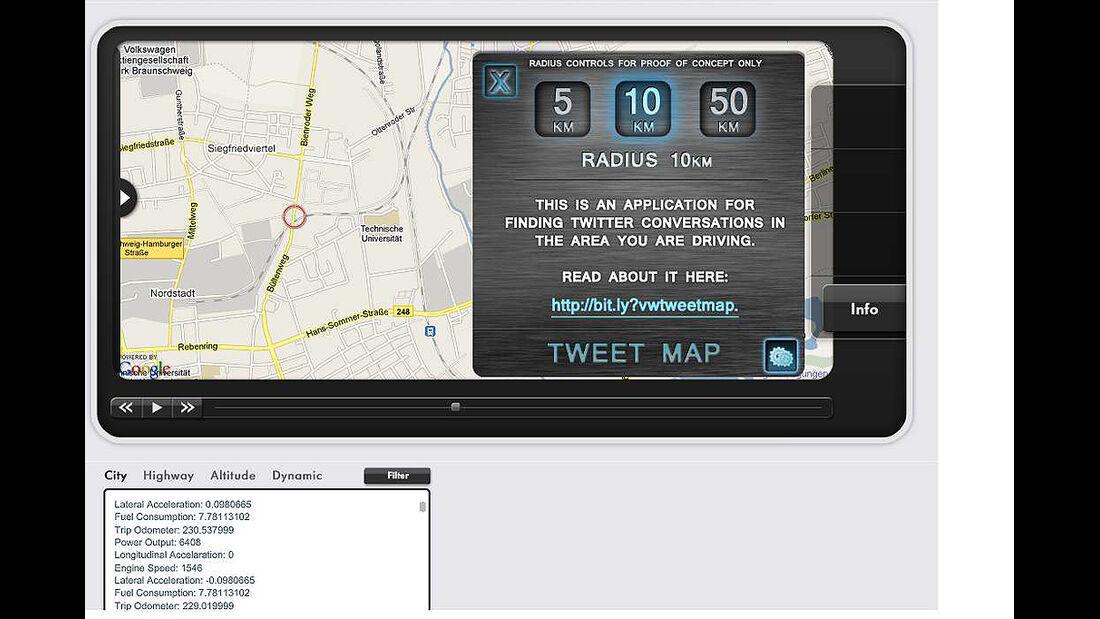 iPhone-App, VW App my Ride, Tweet Map