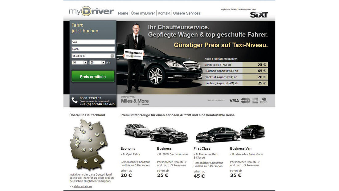 myDriver, Homepage