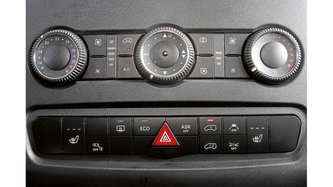 promobil Megatest 2014, Basisfahrzeuge, Mercedes Sprinter, Mittelkonsole, Assistenten