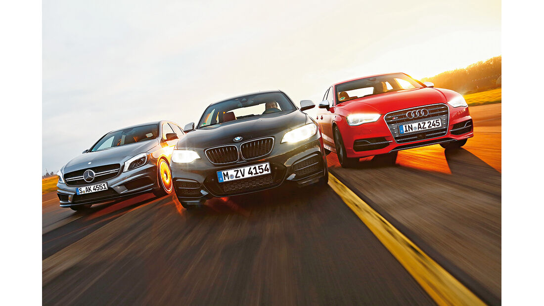 spa0215, Heftvorschau, Audi S3, BMW M235i, Mercedes A45 AMG, Vergleichstest