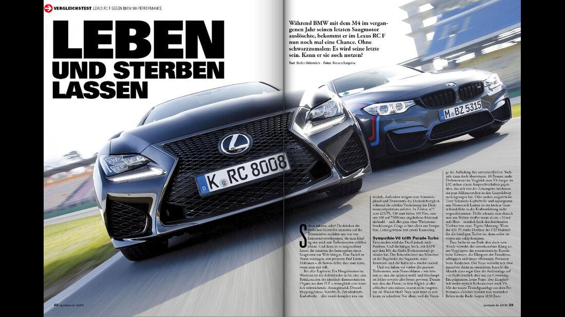 sport auto 04/15, Heftvorschau, Lexus RC F, BMW M4 Performance