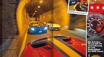 sport auto 04/15, Heftvorschau, Sportwagen, Ferrari 458 Speciale A, Lamborghini Aventador Roadster, Maserati Gran Cabrio MC